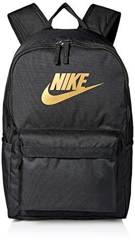 Nike Unisex Jugend Heritage Rucksack, Black/Black/METALLIC Gold, One Size