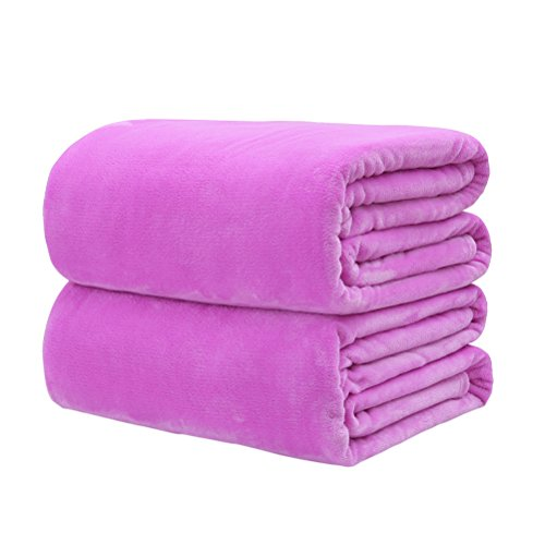 OUNONA Kuscheldecken Wunderschöne Fleece Decke warm und weiche Sofadecke (Helles Lila) (Hell-lila-bettdecke)