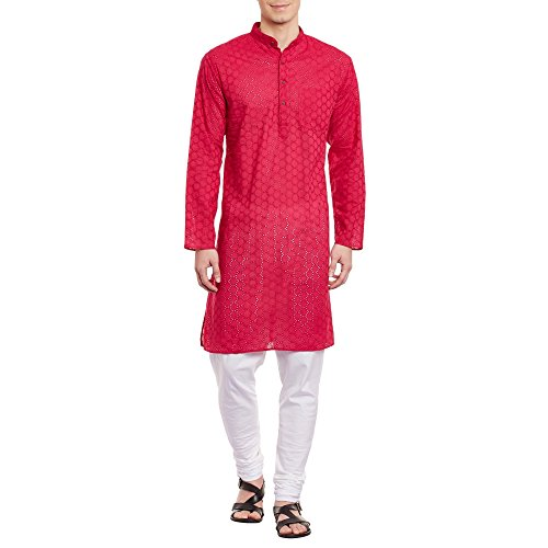 ShalinIndia Herren Bestickt Cutwork Kurta mit Churidar Pyjama Hose Maschine Baumwollstickerei, Brust 54 Zoll, 4XL, Rosa (Designer Herren Kurta)