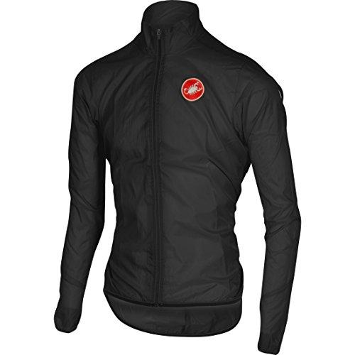 Castelli - Chaqueta Squadra Long para hombre 100% - Impermeable y cortavientos - Tela de nylon revestida con tratamiento hidrorepelente, negro, 3XL