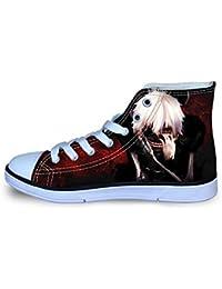 Haililais Tokyo Ghoul Zapatos Zapatos Respirables del Ocio del cordón del Alto-Top Zapatos de Lona Zapatos de niño Estudiante niños y niñas