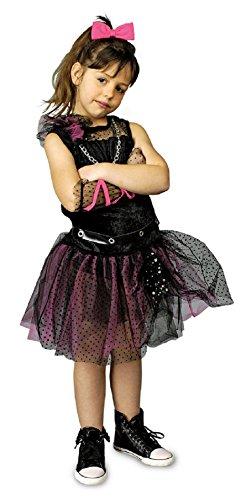 2-116-128 Kinder Mädchen Punker Kostüm-Kleid Rockerin Gr.116-128 (Kinder Punk Rocker Kostüm)