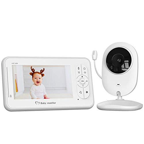 Vigilabebés con Cámara, COOAU Bebé Monitor con Pantalla LCD de 4.3 pulgadas y Batería Recargable...