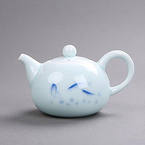 PORCELAINE peinte à la main Théière à thé en céramique Pot Théière