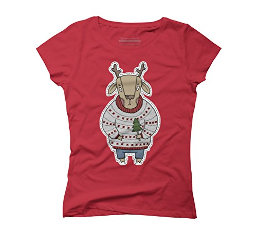 Christmas Deer in color Women's Graphic T-Shirt - Design By Humans Red