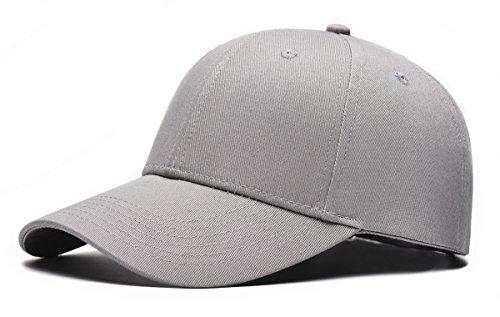 Tuopuda® Baseball Cap Unisex Damen Herren 6 Panel Snapback Kappe Hip Pop Sport Golfschläger Kappen (grau)