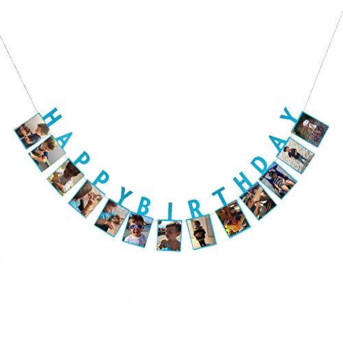 Oblique Unique® Happy Birthday Girlande für Jungen mit Platz für eigene Fotos Kinder Geburtstag Deko Blau