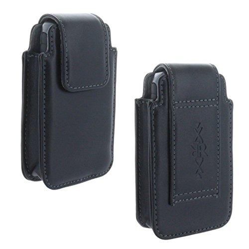 Echt Leder Gürtel Handy Tasche für Panasonic KX-TU339 Schutzhülle Hülle Etui