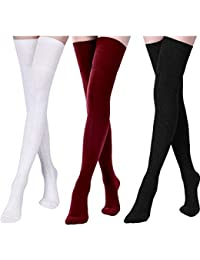 b9e185e96 3 Pairs Women Extra Long Cotton Socks Thigh High Socks Over Knee Boot Socks  for Women