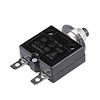 Aramox 5 A / 8 A / 10 A / 15 A / 18 A / 20 A / 30 A Thermal Switch Reset, Current Overload Protection Device Circuit Breaker Manual Reset Circuit Breaker Overcurrent Protector(8A)