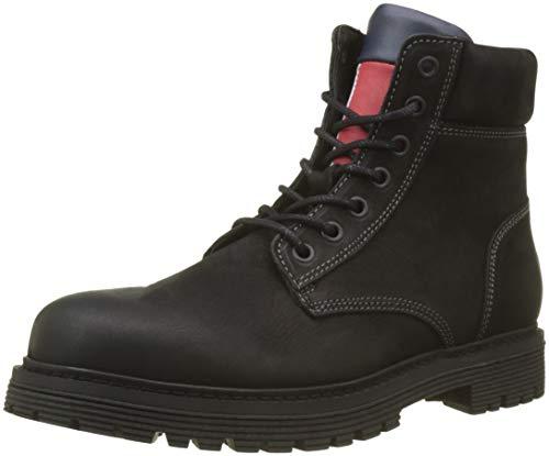 Hilfiger Denim Herren Iconic Tommy Jeans Nubuck Chukka Boots, Schwarz (Black 990), 44 EU (Antik Denim Jeans)