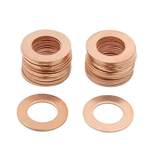 Cisixin 150 pcs Rondelles en Cuivre Rondelle Plate Joints Bague Etanch/éit/é Raccord Anneaux Cuivre avec Bo/îte