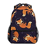Hunihuni Space Fox Durable Backpack College School Book Shoulder Bag Daypack for Boys Girls Man Woman