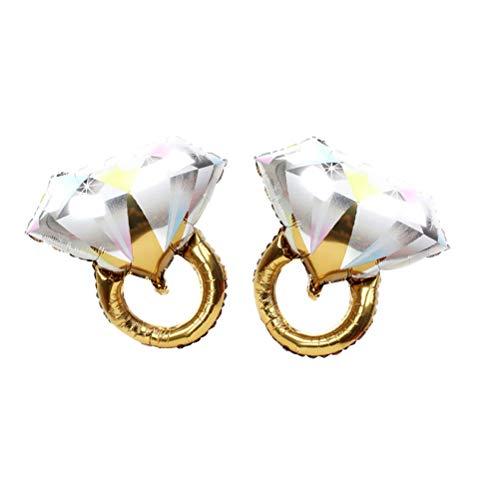 Toyvian 2 STÜCKE Diamant Ring Ballons Ring Form Folienballons Romantische Hochzeit Brautdusche Jubiläum Verlobungsfeier Dekoration-Große Größe (Golden) (Sein Hers Diamant-ring)