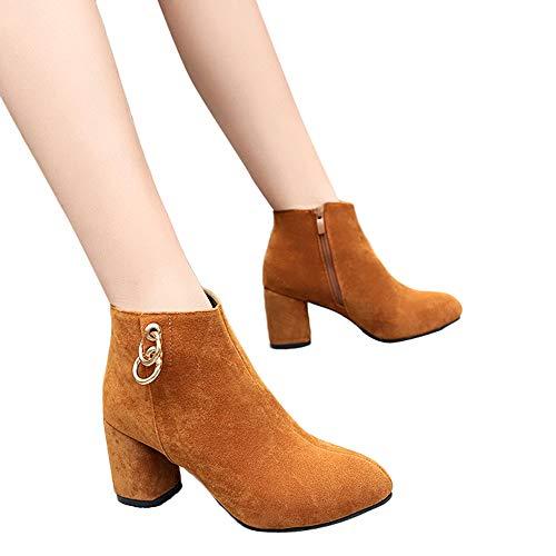 OSYARD Damen Stiefeletten Kurzschaft Low-Top Booties Freizeit Winter Shoes, Frauen Round Toe High Heel Schuhe Einfarbig Wildleder Stiefel Zipper Boots(240/39, Braun) Zipper Jump Boot