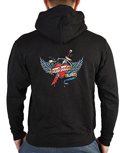 Pin up Girl Zip Kapuzen Sweatshirt Choopers Motiv Zip Hoodie: Heart Breaker Farbe: schwarz Größe: S Heartbreaker Zip Hoodie