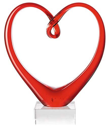 Leonardo Heart Skulptur rot, B/H/T: 21/24/8 cm, handgefertigtes Farbglas, 090871 -