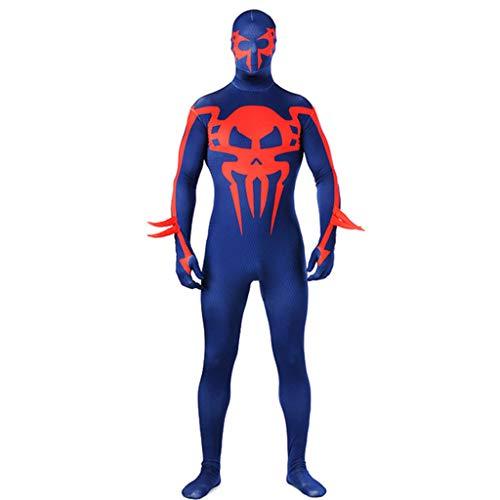 Erwachsene Spiderman Overall Kostüm Männer Film Cosplay Body Kostüm 3D Druck Spider-Man Kostüm Blau für Halloween Party,Blau,L (Invisible Mann Kinder Kostüm)
