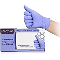 StonyLab - Guantes de nitrilo morado (100 unidades, grado médico, sin polvo, sin látex, con textura, desechables, no estéril, Ambidiestros)