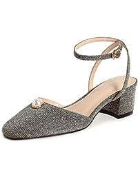 Zapatos de Mujer Summer New Sandals Fashion con Lentejuelas Pearl Chunky Heel Block Sandalias de Tacón