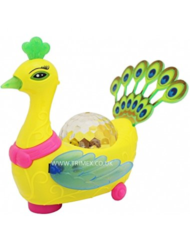 SuperToy(TM) 3D Peacock With Walking/Singing/Dancing Toy with Flashing 3D Lights and sounds Children\'s Kids Toy - Battery Operated