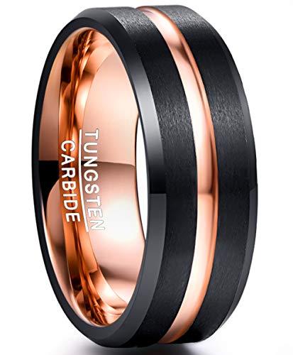 NUNCAD Damen Herren Partner Ring Schwarz + Rosegold 8mm Wolframcarbid mit Rosegoldener Rille für Hochzeit Verlobung Valentinstag Fashion Größe 62 (22)