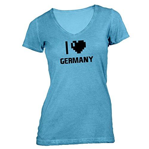 Damen T-Shirt V-Ausschnitt - I Love Germany - Deutschland Reisen Herz Heart Pixel Hellblau