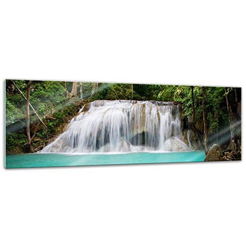 Glasbild - Dschungel Wasserfall in Thailand, Provinz Kanchanaburi - 90x30 cm - Deko Glas - Wandbild aus Glas - Bild auf Glas - Moderne Glasbilder - Glasfoto - Echtglas - kein Acryl - Handmade