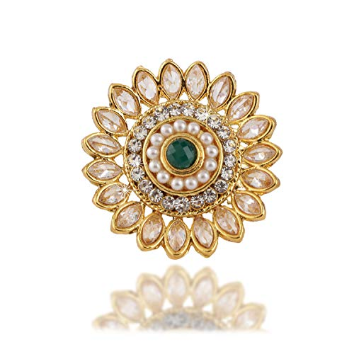 Yellow Chimes Traditional Crystal Studded Classic Gold Plated Ring for Women (Golden;Green) (YCTJRG-02KUND-GL)