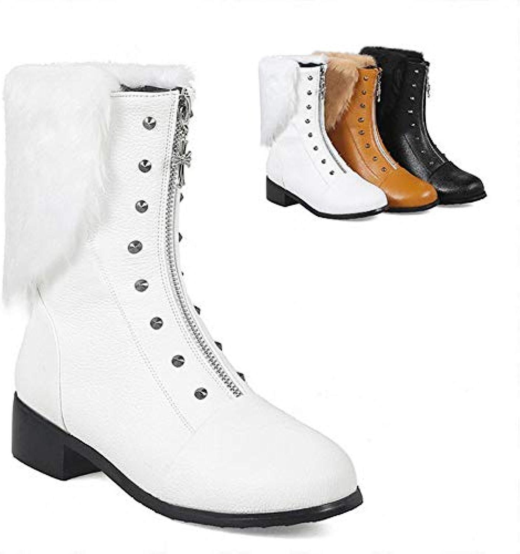 IG IG IG Stivali da Donna - Stivali Tacco Basso a Testa Tonda Stivali Caldi Invernali Scarpe di Cotone 34-43,Bianca,34 | Consegna Immediata  | Uomo/Donne Scarpa  4a19fe