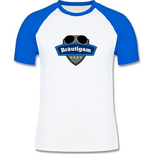 JGA Junggesellenabschied - Bräutigam Police - zweifarbiges Baseballshirt für Männer Weiß/Royalblau