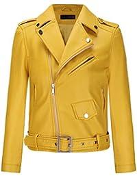 Veste cuir avec ceinture femme