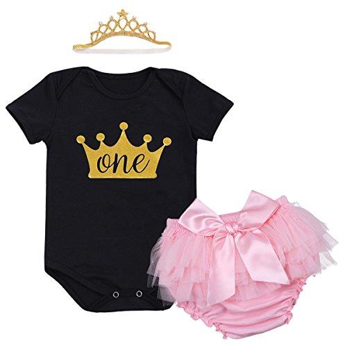 Baby Mädchen 1. Geburtstag Tutu Kleid Set Romper + Rosa Bowknot Pumphose / Bloomers + Krone Stirnband Geschenk Säuglings Prinzessin 3 Stück Outfits Verkleidung Fotoshooting Kostüm (Zahnfee Schwarz Kostüm)