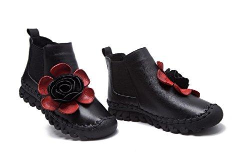 Femmes Dames Chaussures Nouvelles Chaussures Bottes Courtes Loisirs Basse Talon Tête ronde Cuir véritable Plus Cachemire Pompes antidérapantes chaudes Fête de l'automne Fête Travail Noir