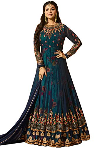 MR CROZY Women\'s Faux Georgette Long Anarkali Suit (Blue, Free Size)