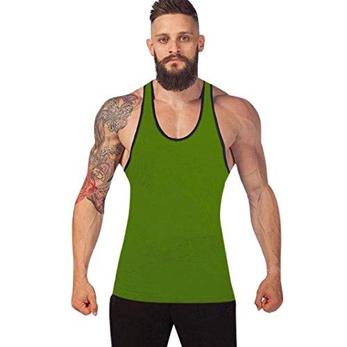 URSING_Herren Muscle Fitness Gym Stringer Tank Tops Men\'s Bodybuilding Workout Shirts Vest Männer Racerback Singlet Sport Ärmelloses Shirt Coole Unterhemd Muskelshirt Trainingshirt (M, Grün)