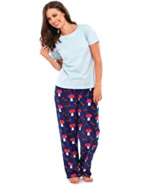 7627164c27 Ladies Pyjama Gift Set Long Fleece Trousers T-Shirt Top Apple Dragonfly  Mushroom
