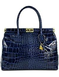 Design-r belli sac à main en cuir véritable façon croco bleu foncé verni - 34 x 25 x 16 cm (l x h x p)