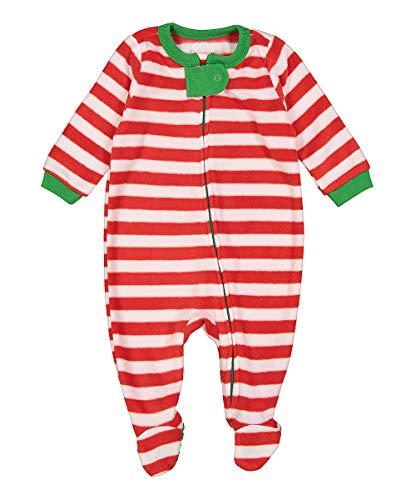Elowel Unisex Baby Mädchen Und Jungen Weihnachten Gestreift-Design Grün Und Weiß Schlafanzug Strampler 100% Polyester Flauschig (Größe 6 M-5 Jahre) 12-18 Monate