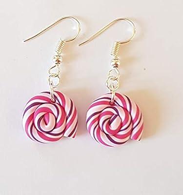 boucles d'oreilles sucettes lolipop rose multicolore blanc coloré bonbons cadeau enfant