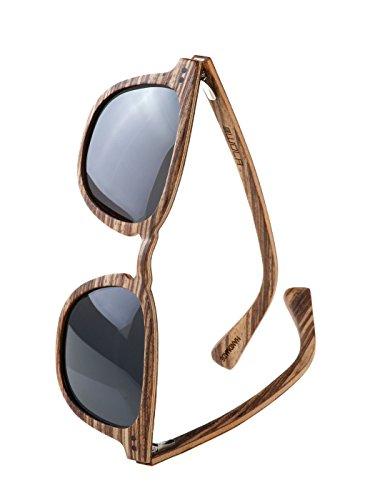 WOLA Herren Sonnenbrille Holz HELIO Brille quadratisch schmale Brücke polarisiert UV400 Holzbrille Zebraholz Unisex