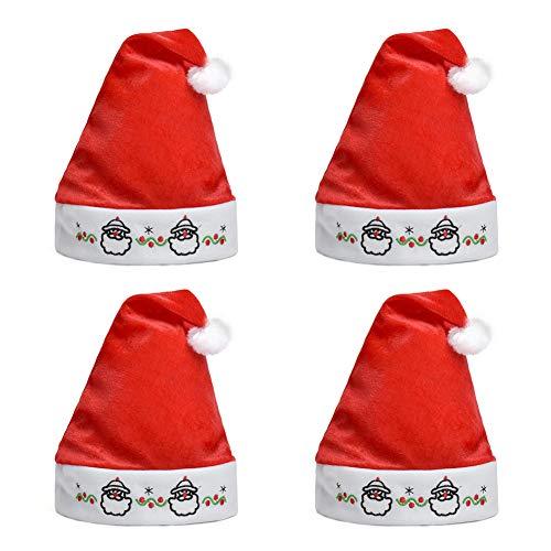 Ruizsh 4 Stück Weihnachtsmütze, 28*36cm Nikolausmützen Weihnachtsmann Mütze Weihnacht Nikolaus aus Samt kuschelweich & angenehm für Winter Weihnachten Verkleiden Sich