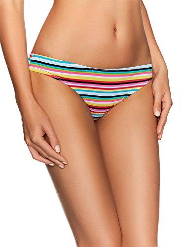 oodji Ultra Damen Bikinihose mit Streifen, Mehrfarbig, DE 34 / EU 36 / XS