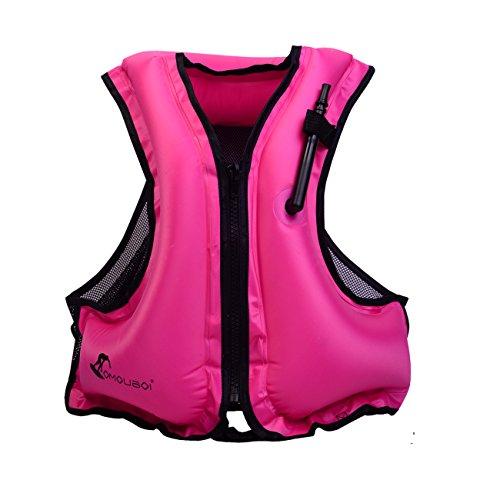 Erwachsene Tragbare Aufblasbare Auftrieb,Floatageweste,Schnorchelnd, Fischen-Weste, Schwimmen. Fahren, Surfen, Tauchen, Bootfahren, Kayaking, Canyoning (Pink) -