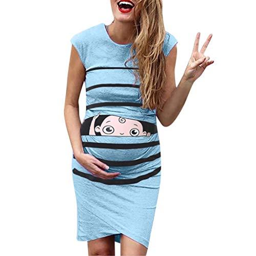 ZHANSANFM Umstandskleid Damen Umstandsmode Lustig Baby Drucken Umstands Stillkleid Streifen Maternity Dress Ärmellos Elastisch Weiches Kleidung für Schwangere Elegante Knielang (XL, (Lustige Schwangere Frau Kostüme)