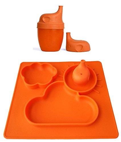 Silikon Tisch-Sets Schnabeltasse Deckel 100% lebensmittelecht FDA genehmigt ungiftig Matte Spülmaschinenfest und mikrowellengeeignet flexibel Geschirr rutschfest leicht zu reinigen für Kinder Säuglinge & Kleinkinder Hot-wasser Zu Den Mahlzeiten