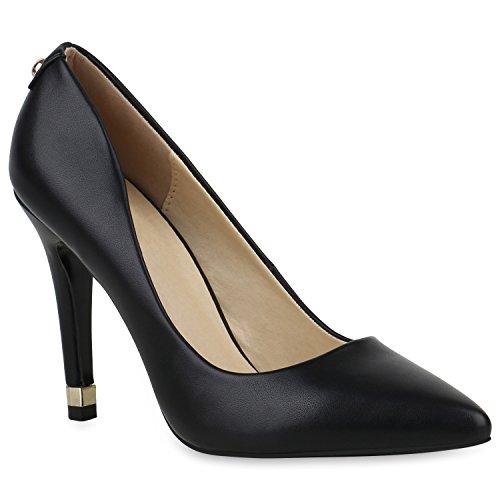 Damen Schuhe Spitze Pumps Stiletto High Heels Elegante Business 154385 Schwarz Black 38 Flandell