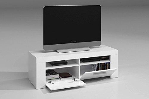 Módulo bajo o mesa de TV con puertas abatibles color blanco brillo para television 120 cm