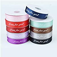 PiniceCore 25mm 5m Just for You Printed Polyester Ribbon for Wedding Christmas Party Decorations DIY Ribbons for Crafts Gifts Wrapping.