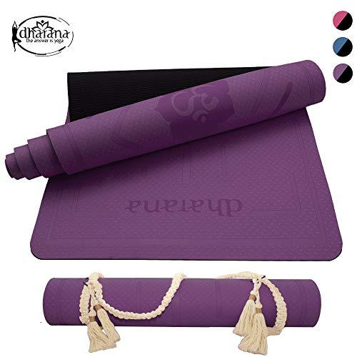 Dharana Tappetino Yoga Antiscivolo - Tappetini Palestra Fitness Sport Pilates Ginnastica - Mat Ecologico - Stuoia da Yoga Cinghia di Trasporto (Purple)